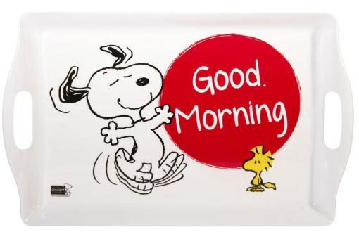 Plateau Melamine Snoopy 50.5X31.5Cm Good Morning