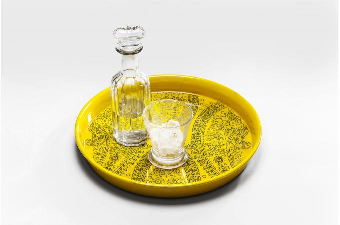 Plateau rond kare design jaune en acier impression for Accessoire cuisine jaune