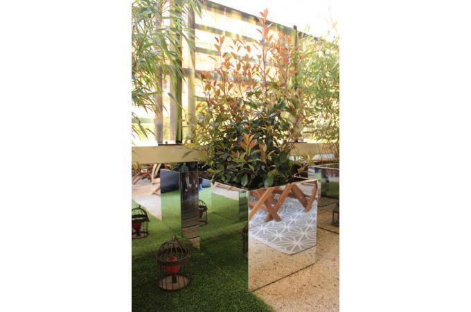 Pot De Fleurs Miroir Cubique 49x49x50 Cm Deco Jardin Pas Cher
