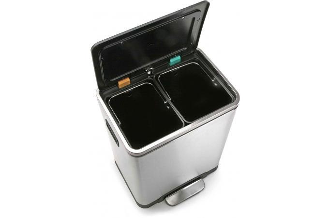 Poubelle de cuisine rectangulaire 30l argent e en m tal berardie poubelle design pas cher - Poubelle de cuisine design ...