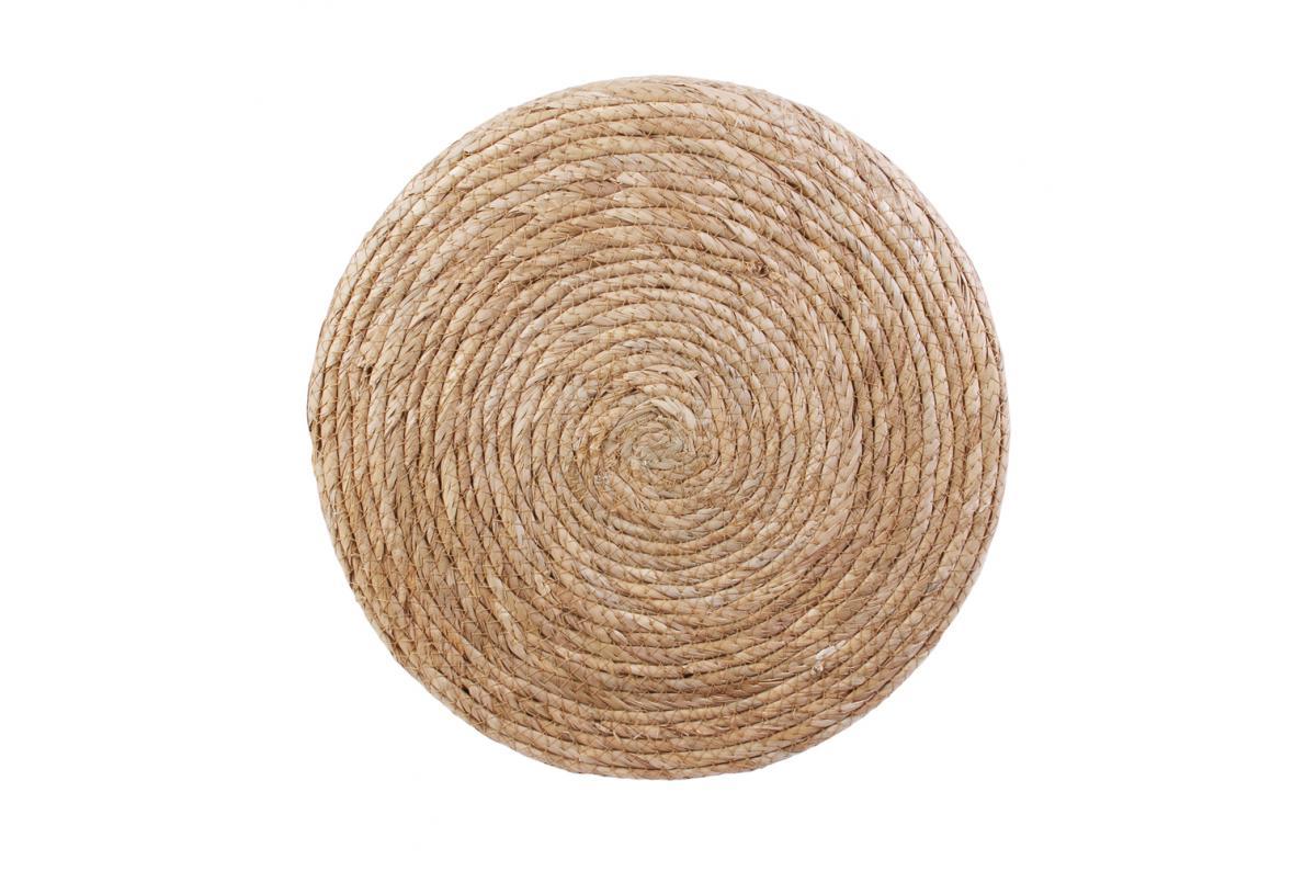 Pouf Jonc De Mer pouf blanc et bois barbara - pouf pas cher