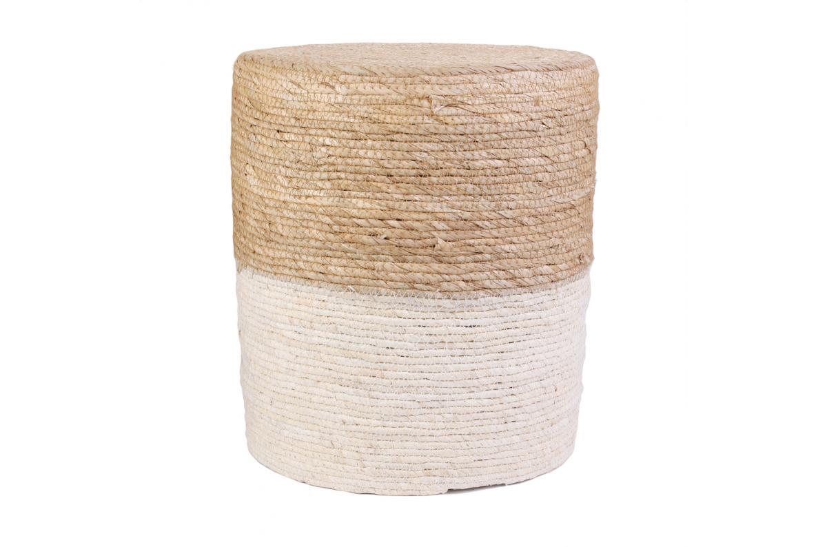 Pouf Jonc De Mer pouf blanc et bois barbara plus d'infos