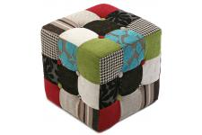 Pouf Cube Patchwork Multicolore LEON - Pouf multicolore design