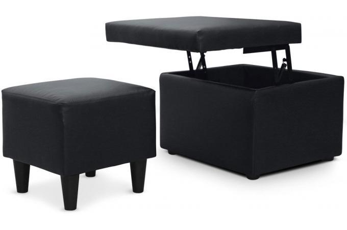 pouf et pouf coffre noir niagara chaise design pas cher. Black Bedroom Furniture Sets. Home Design Ideas
