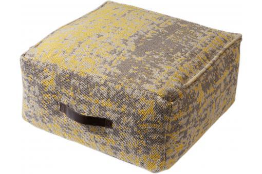 coussin de sol jaune et gris 50x50x25 kelim pouf design. Black Bedroom Furniture Sets. Home Design Ideas