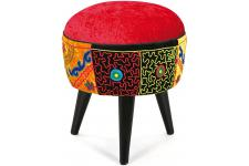Repose Pieds Patchwork Multicolore GILBERTO - Pouf multicolore design
