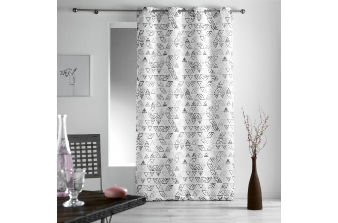 rideau a illets blanc imprim g om triques gris 140x260 sidona rideaux pas cher. Black Bedroom Furniture Sets. Home Design Ideas