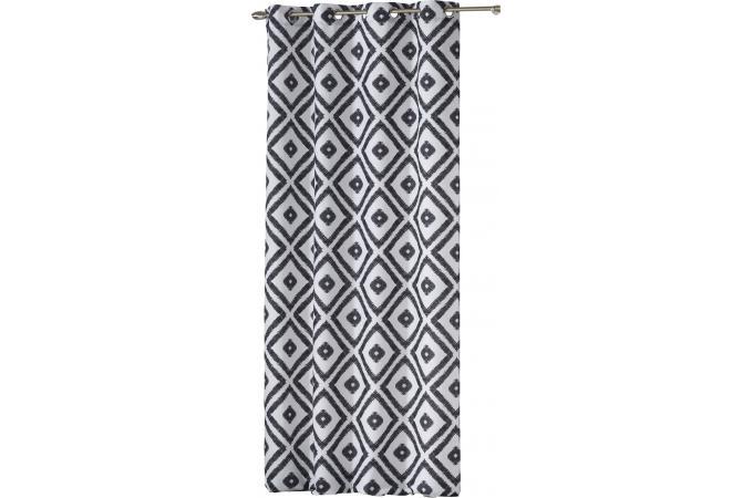 rideau a oeillets imprim formes g om triques d lav es blanc 140x260 aela rideaux pas cher. Black Bedroom Furniture Sets. Home Design Ideas