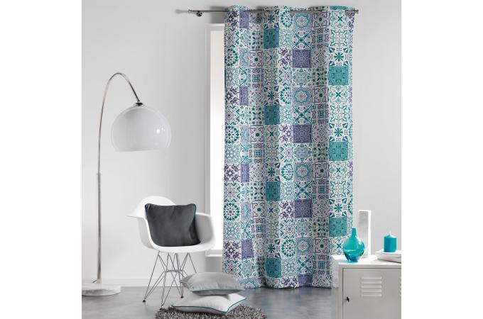 rideau a oeillets bleu imprim g om triques blanc 140x240 lancelot rideaux pas cher. Black Bedroom Furniture Sets. Home Design Ideas