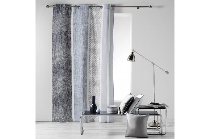 rideau a oeillets gris imprim bleu impression lin aire. Black Bedroom Furniture Sets. Home Design Ideas