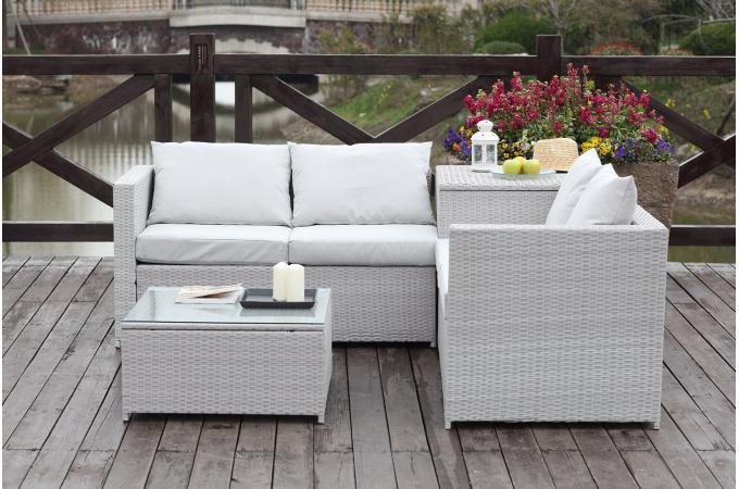 salon de jardin canap s gris ecru aurinko salon de. Black Bedroom Furniture Sets. Home Design Ideas