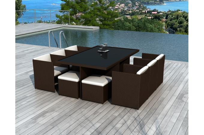 salon de jardin encastrable 10 places chocolat solveig table manger pas cher. Black Bedroom Furniture Sets. Home Design Ideas