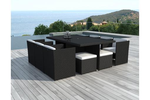 salon de jardin encastrable 10 places noir solveig salon. Black Bedroom Furniture Sets. Home Design Ideas