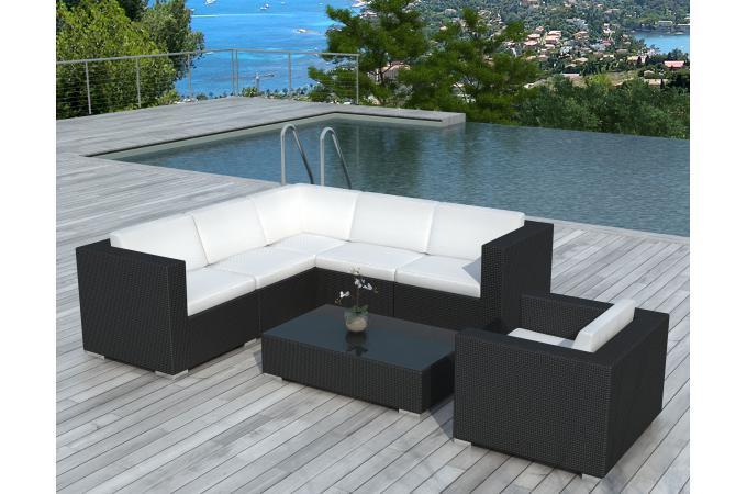 Salon de jardin noir et blanc en r sine tress e californie - Salon de jardin design blanc ...