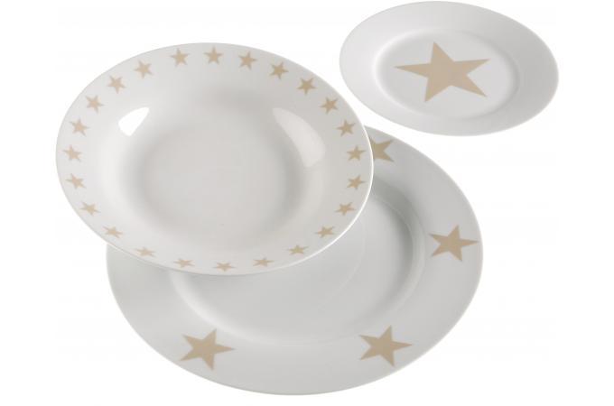 service 18 pi ces en porcelaine stars accessoires cuisine sali re gant pas cher. Black Bedroom Furniture Sets. Home Design Ideas