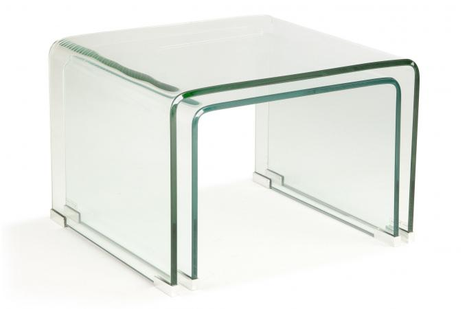 Set 2 tables basses gigogne verre transparent otta table - Table basse gigogne verre ...