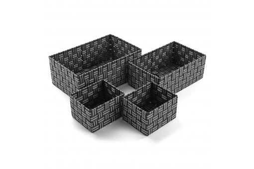 Set 4 Boîtes Anthracite GARRAY - Meuble gain de place