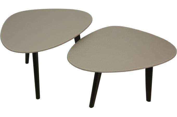 Set de 2 tables basses ovales taupe table basse pas cher - Tables basses ovales ...