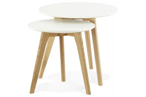 Set de 2 tables basses rondes scandinaves blanches ELIA - Salon scandinave