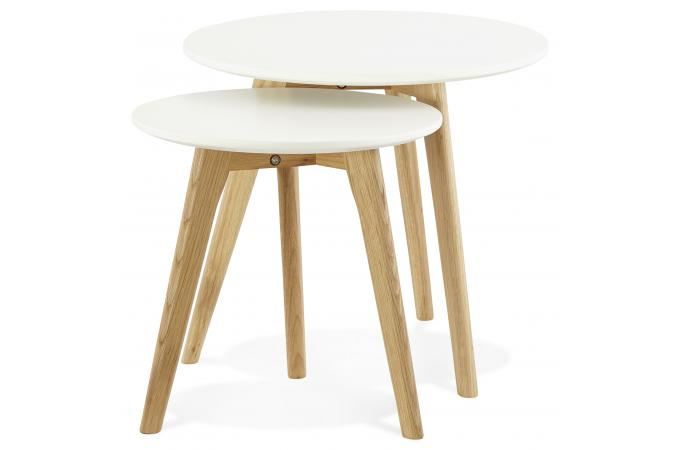 Set de 2 tables basses rondes scandinaves blanches elia table basse pas cher - Tables basses blanches ...