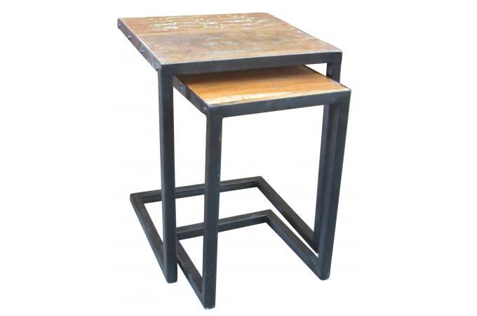 set de 2 tables gigognes en bois et m tal carmina table d 39 appoint pas cher. Black Bedroom Furniture Sets. Home Design Ideas