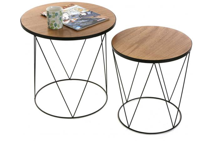 set de 2 tables gigognes filaires rondes en bois et m tal coronille table d 39 appoint pas cher. Black Bedroom Furniture Sets. Home Design Ideas