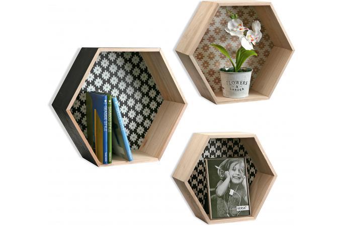 Set De 3 233 Tag 232 Res Hexagonale Style Scandinave En Bois Peps