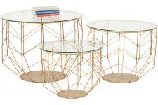 Set De 3 Tables basses Kare Design En Laiton WIRE - Table basse bois design