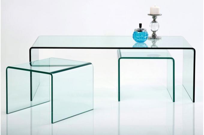 Set de 3 tables gigognes en verre fidji tables basses pas cher - Table basse gigogne verre ...