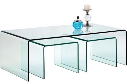 Set de 3 Tables Gigognes en Verre Fidji