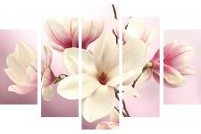 Set De 5 Tableaux XXL Impression Magnolia 150x100 FIORI - Tableau design rouge