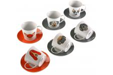 Set de 6 tasses à thé rouges et grises avec sous tasses DOGGY - Service cafe the design