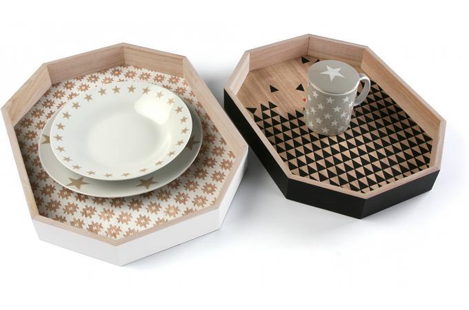 set de deux plateaux en bois style scandinave kalee accessoires cuisine sali re gant. Black Bedroom Furniture Sets. Home Design Ideas