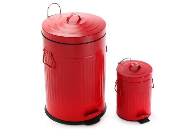 Set de deux poubelles de salle de bain rouge delson poubelle design pas cher for Set salle de bain design