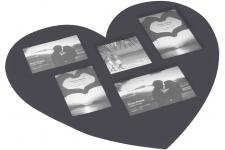 Set De Table En Forme De Coeur Photos Anthracite 29x42 SOUVENIR - Nappe et serviette design