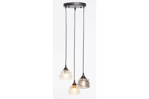 Suspension 3 Lampes Verre Multicolore RUFFLE - Lustre et suspension design