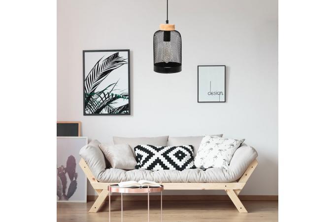 suspension cloche grillag en m tal noir et baldaquin bois. Black Bedroom Furniture Sets. Home Design Ideas