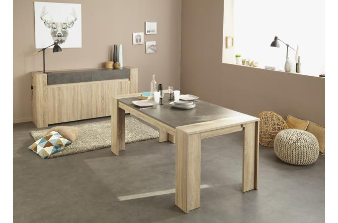 table manger plaqu en ch ne brut effet b ton spoid table manger pas cher. Black Bedroom Furniture Sets. Home Design Ideas