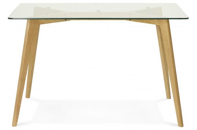 Table manger rectangulaire avec plateau en verre pieds - Plateau pour table a manger ...