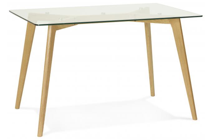 table manger rectangulaire avec plateau en verre pieds bois fiord table manger pas cher. Black Bedroom Furniture Sets. Home Design Ideas