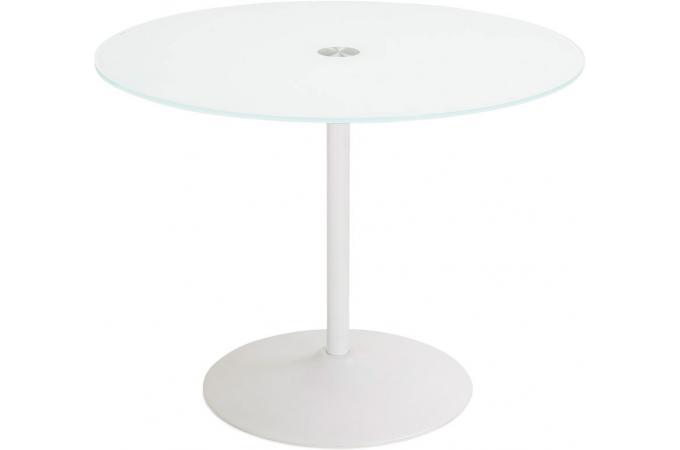 table manger blanche ronde design plateau en verre bloom table manger pas cher. Black Bedroom Furniture Sets. Home Design Ideas