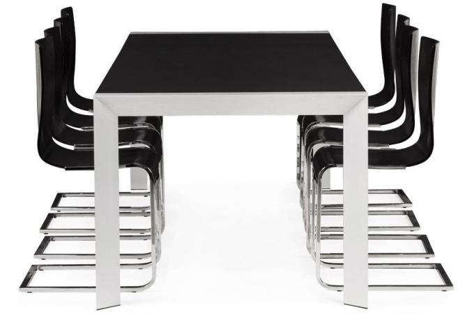 table manger 6 personnes avec plateau en fr ne noir et. Black Bedroom Furniture Sets. Home Design Ideas