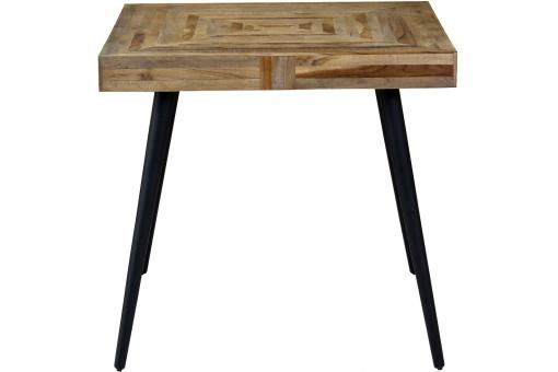 table manger carr en teck marron et m tal noir nash table manger pas cher. Black Bedroom Furniture Sets. Home Design Ideas