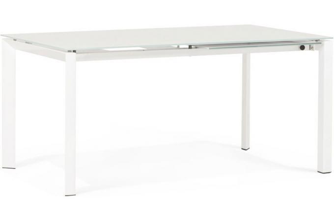 Table manger en verre avec rallonge blanche ika table for Table a manger avec rallonge pas cher