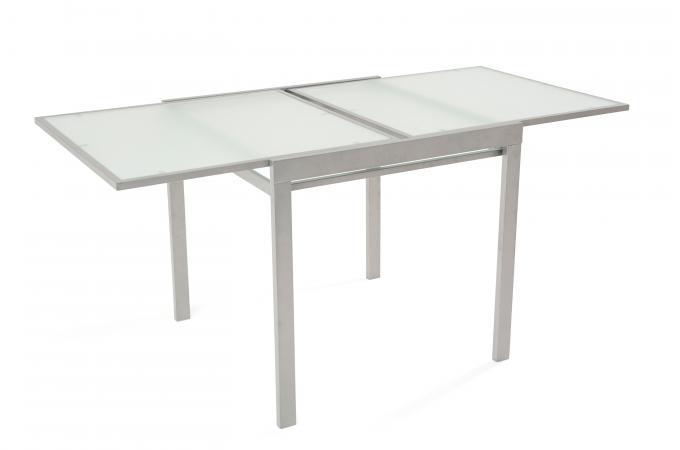 table a manger extensible verre et m tal 2 allonges grise billboard table manger pas cher. Black Bedroom Furniture Sets. Home Design Ideas