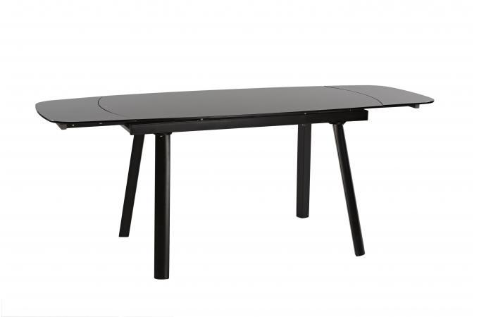 Table manger extensible verre et m tal noir 140 200x75cm for Table a manger verre noir