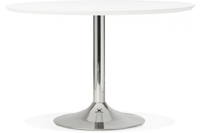 Table à Manger Ronde Blanche Pied Métal D120 BARNET - Table à Manger ...
