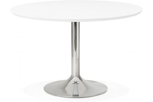 table manger ronde blanche pied m tal d120 barnet table manger pas cher. Black Bedroom Furniture Sets. Home Design Ideas