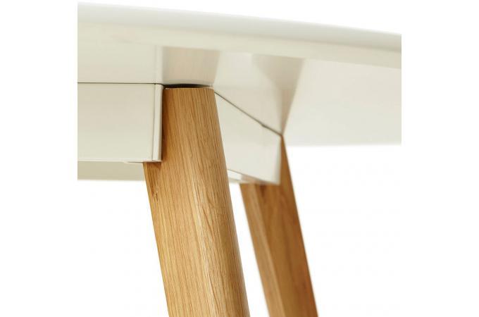 Table à manger ronde blanche pieds bois CAMSOU - Table à Manger Pas Cher
