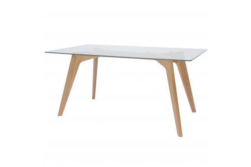 Table manger verre et bois 160x75x80cm fiord table manger pas cher - Table a manger verre et bois ...